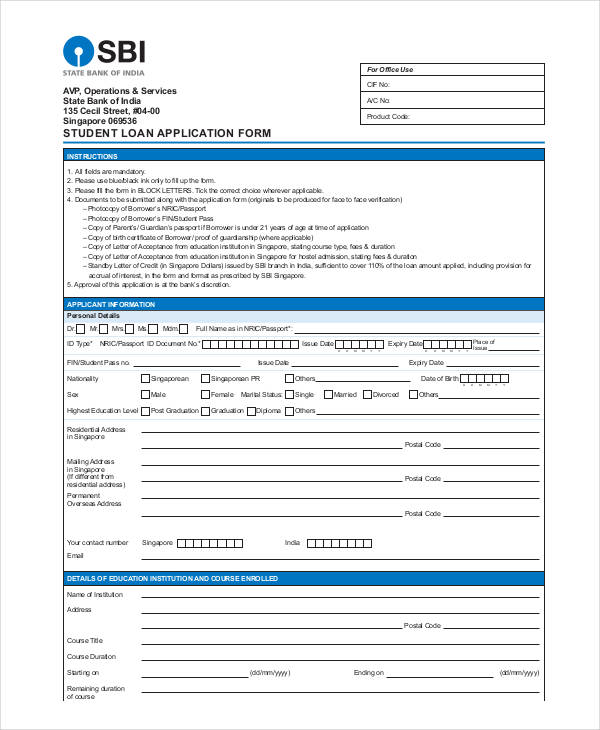 bank student loan application form