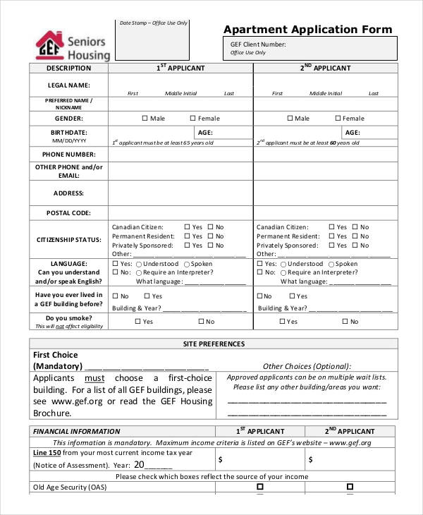 Apartment Application Form Samples  Free Sample Example Format