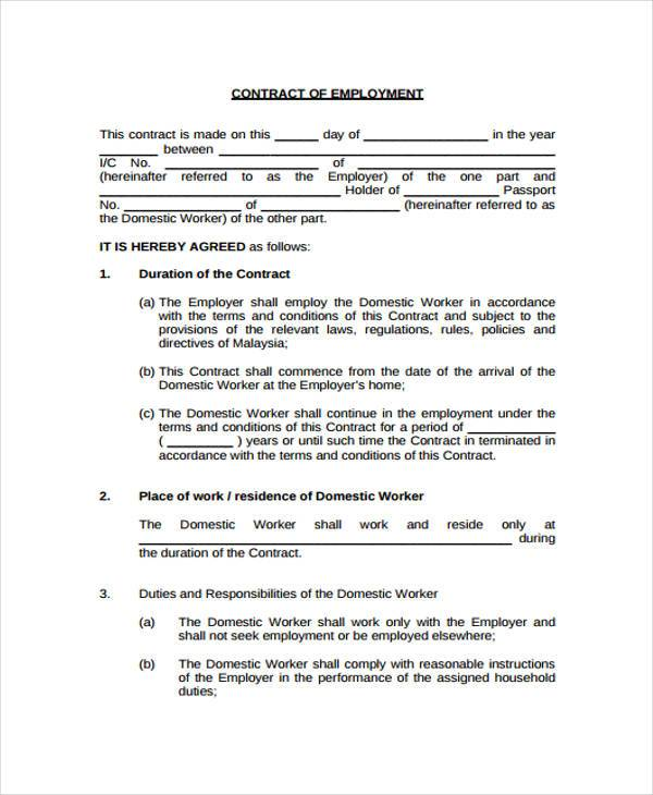 basic employment contract form