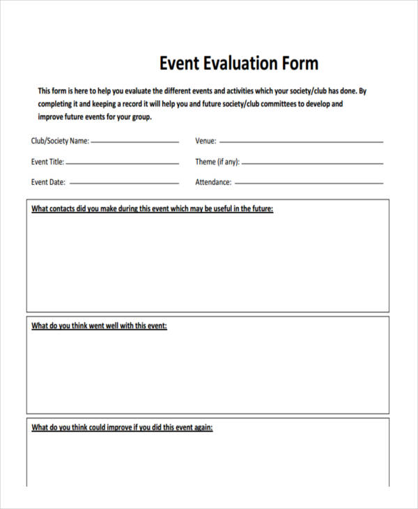 Sample Event Forms   Free Documents In Word Pdf