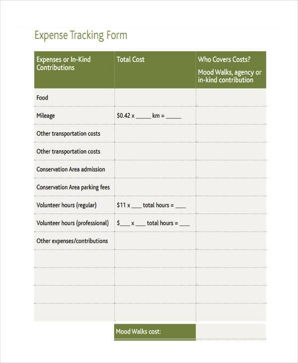 basic expense tracking form