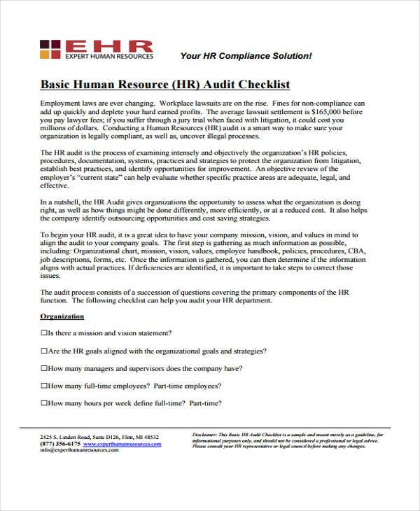 basic hr audit checklist form