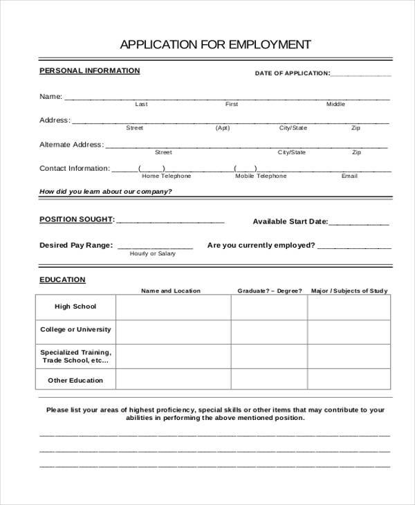 basic job employment application form