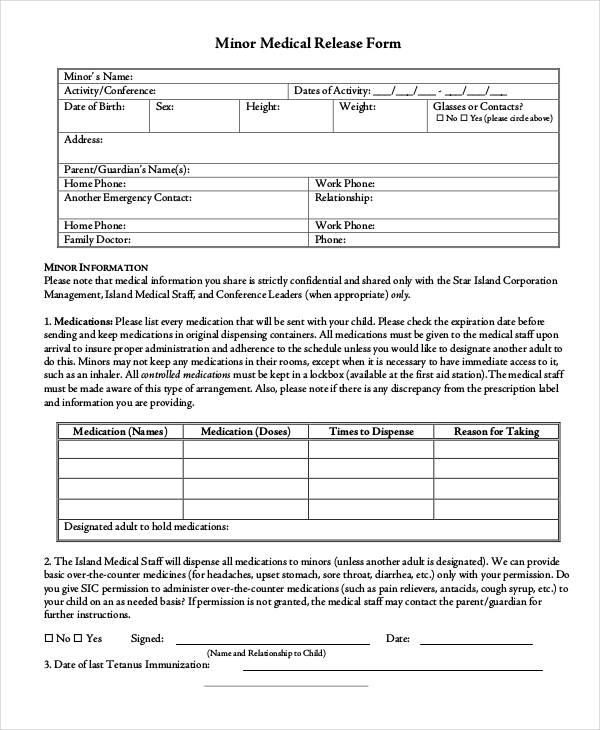 Basic Minor Medical Release Form
