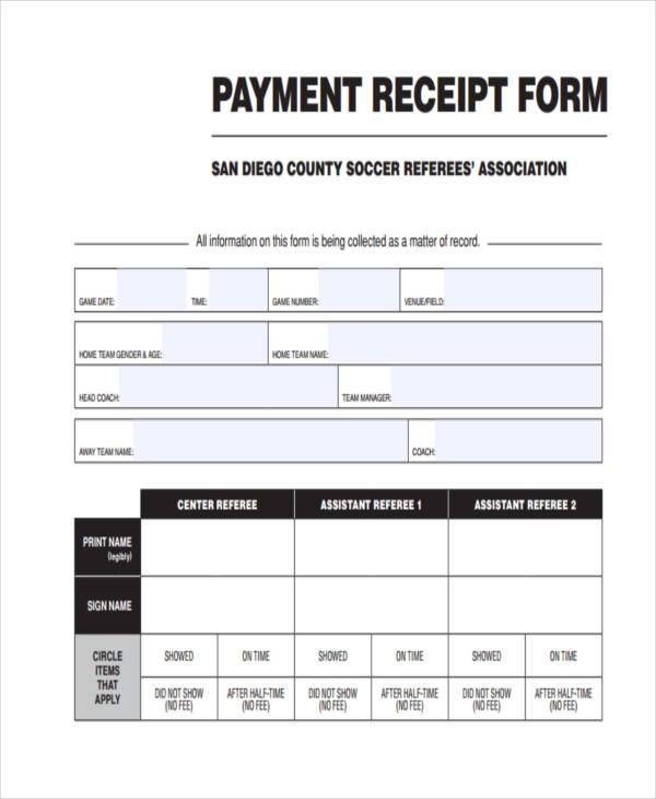basic payment receipt form