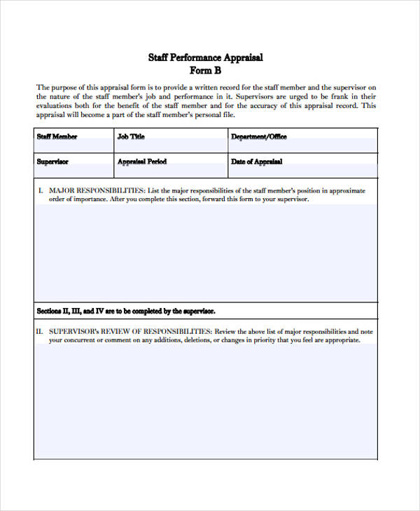 Simple Appraisal Forms