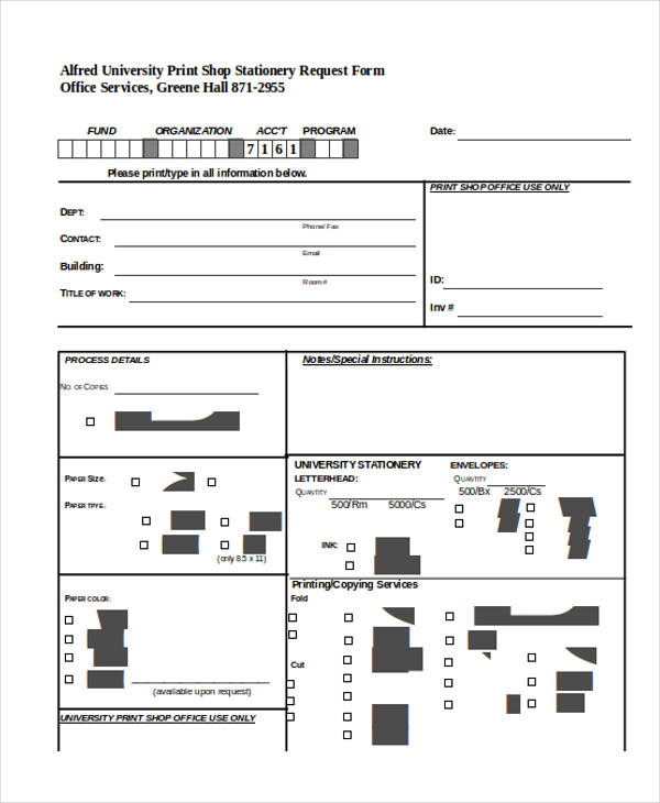 basic stationery request form