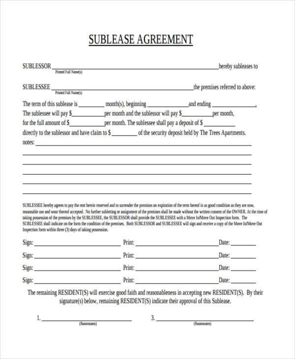 Agreement forms in pdf for Vehicle sublease agreement template