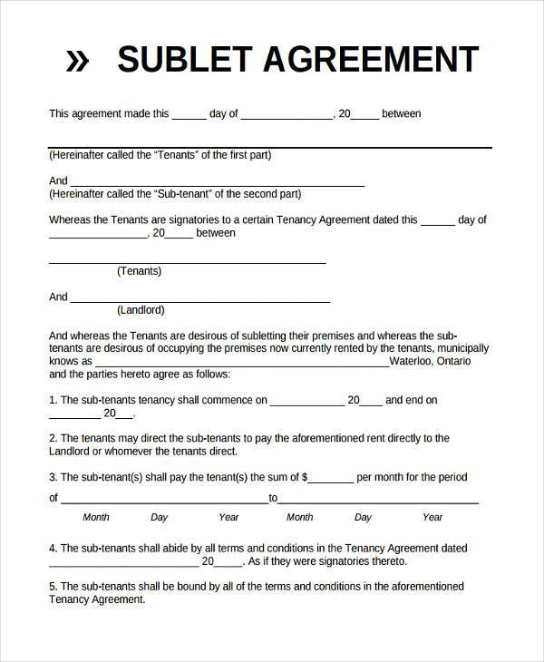 basic sublet agreement form