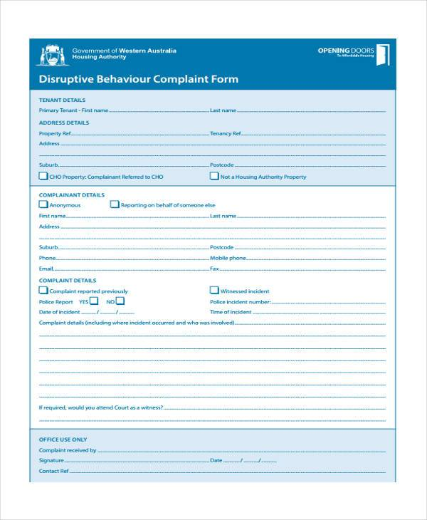 behavior complaint report form