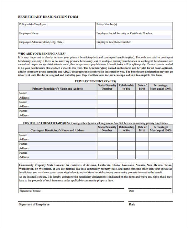 beneficiary signing release form example