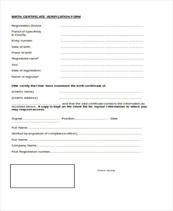 birth certificate verification form
