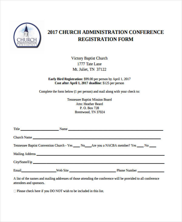 black church conference registration form2