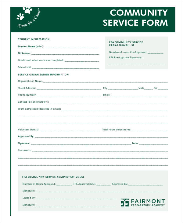 blank community service form template