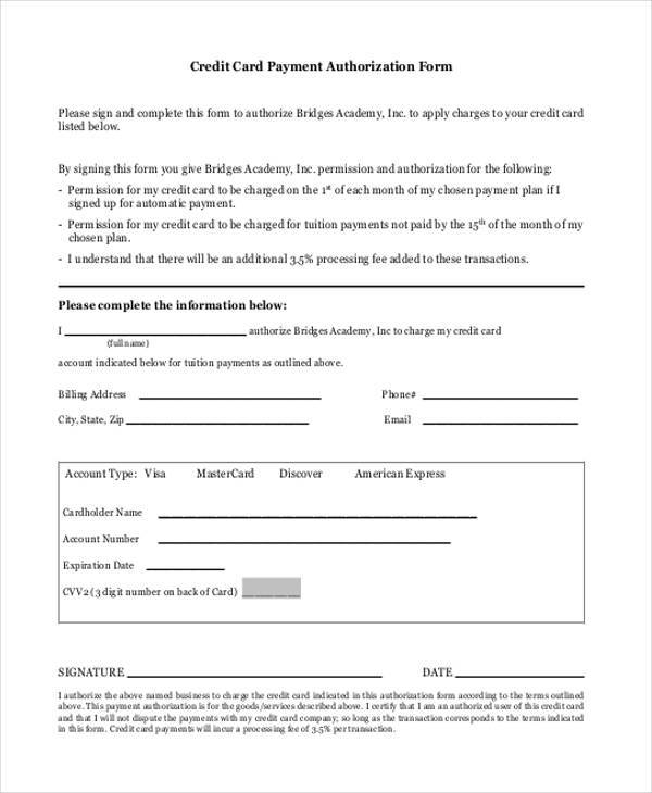blank credit card payment authorization form
