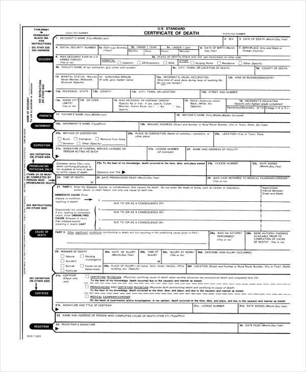 Blank Death Certificate Form  Blank Certificate Forms