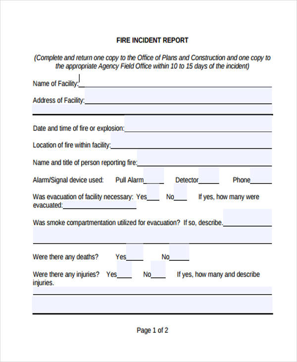 Near miss reporting form template blank incident report for Fire department incident report template