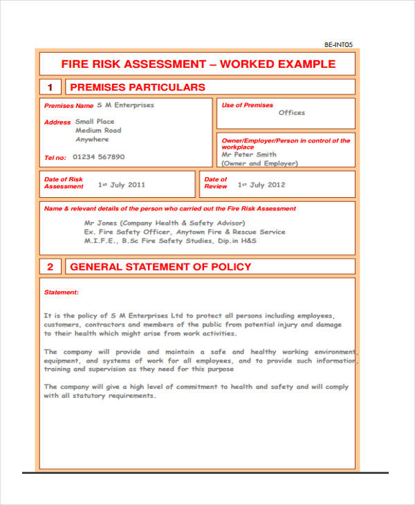 blank fire risk assessment form1