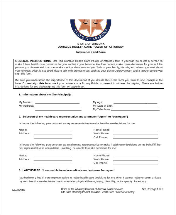 blank healthcare power of attorney form