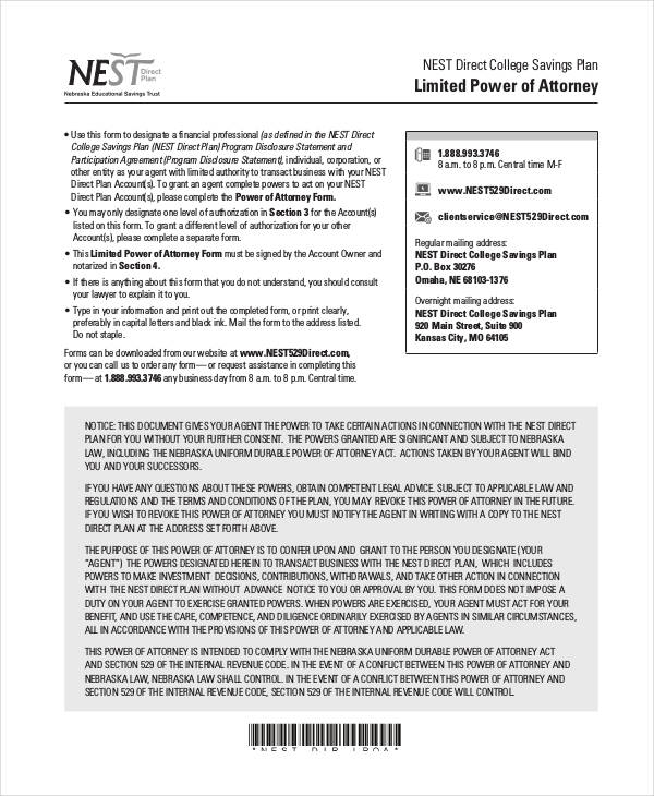 blank limited power of attorney form1