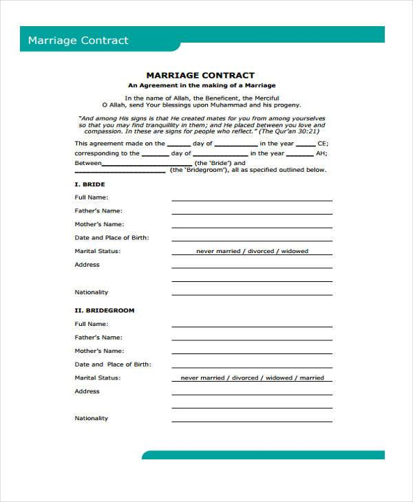 blank marriage contract form