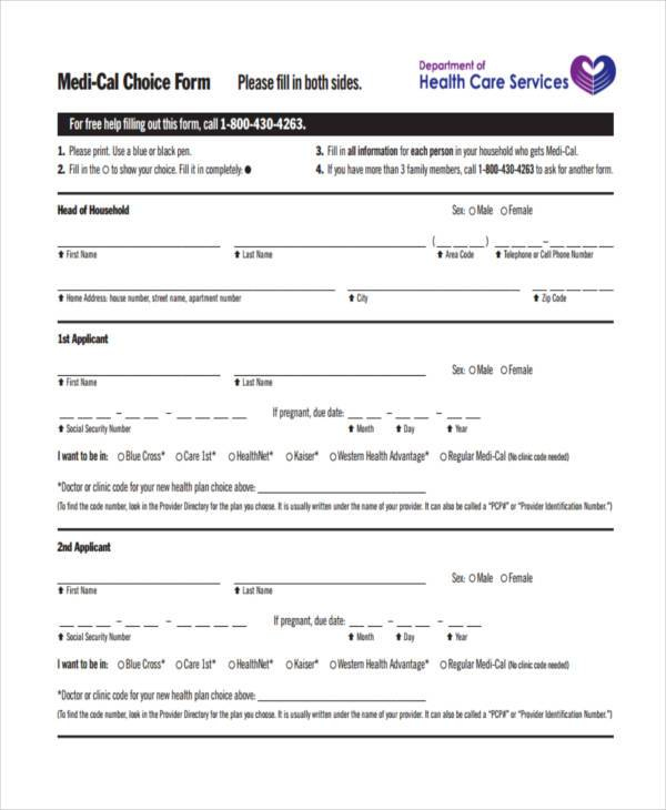 Blank Medical Choice Form  Blank Medical Forms