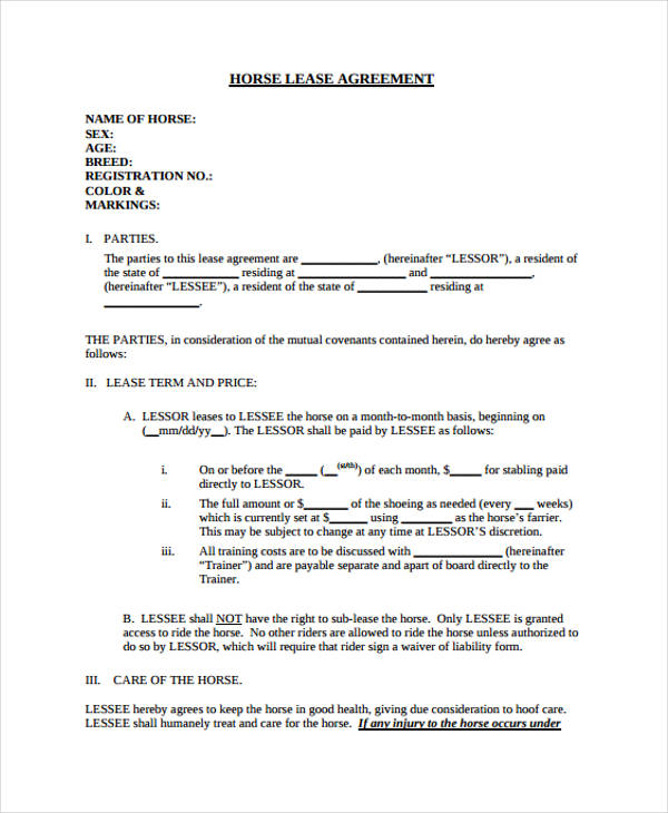Lease Agreement Example House Rental Agreement Doc Free Download