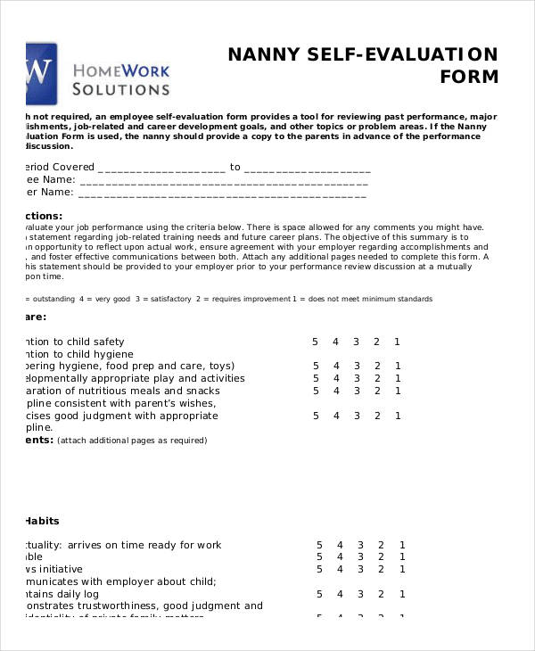 blank nanny self evaluation form1