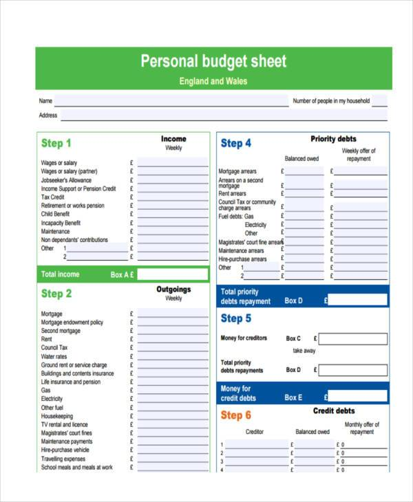 blank personal budget form free