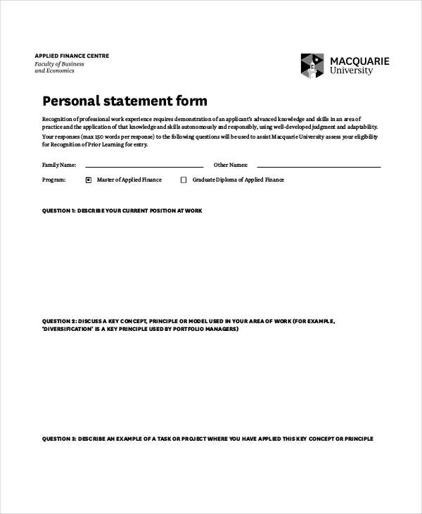 blank personal statement form
