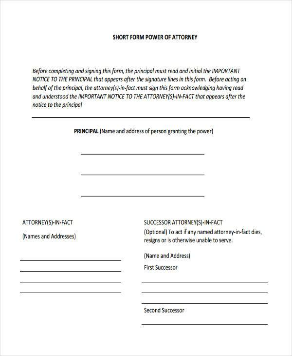 blank power of attorney form pdf