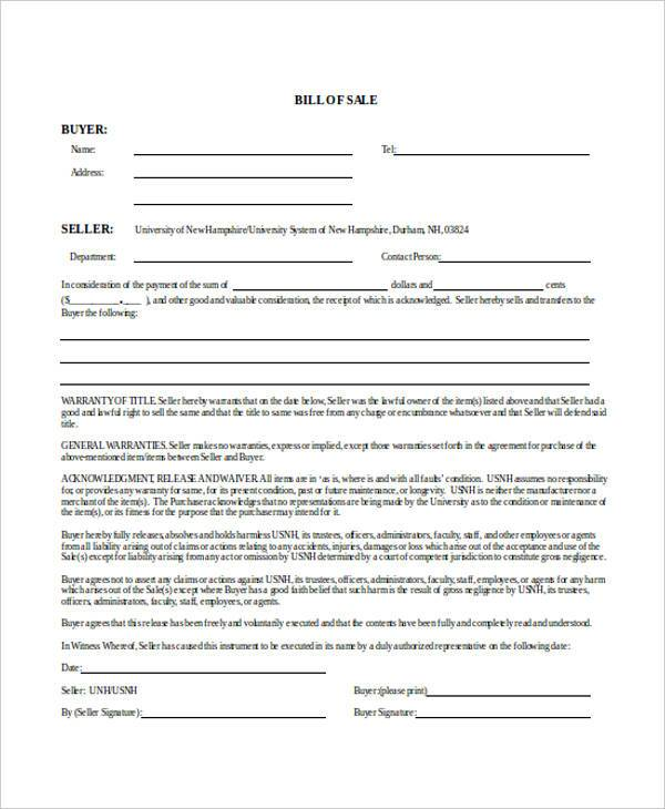 blank printable bill of sale form