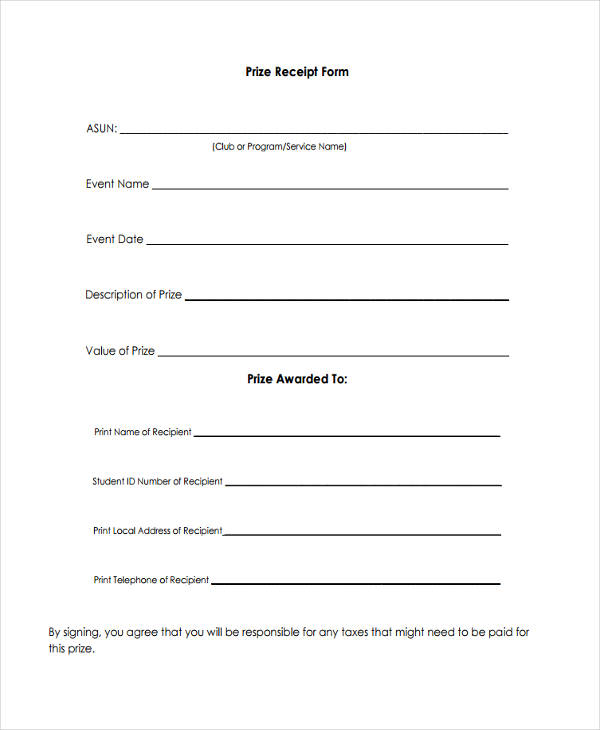 blank prize receipt form