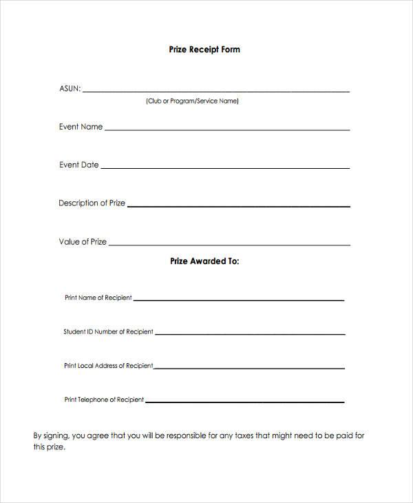 blank receipt form
