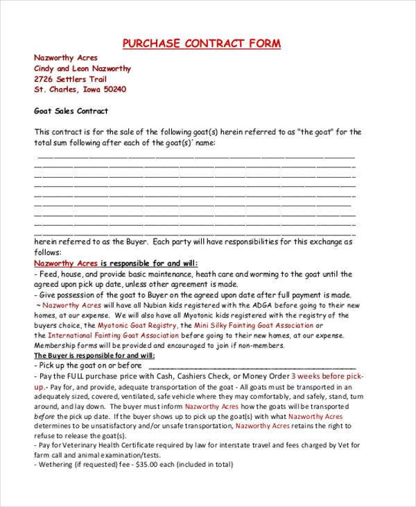 blank purchase contract form