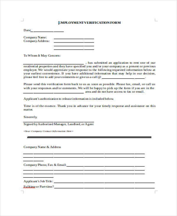 Blank Rent Verification Form  Blank Employment Verification Form