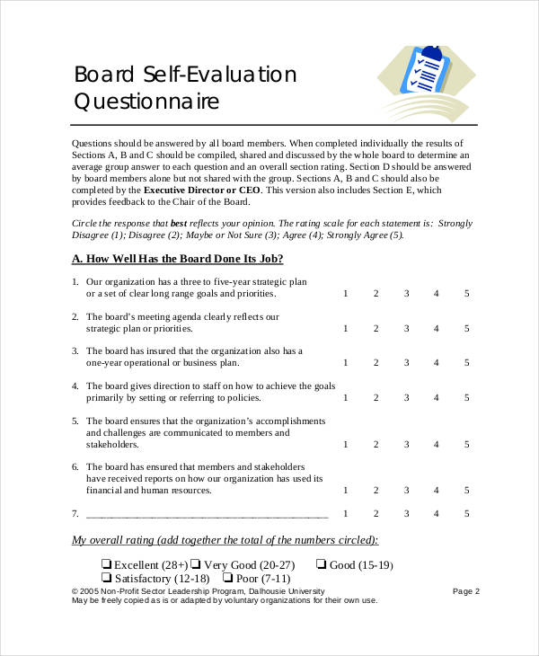 board self evaluation questionnaire form