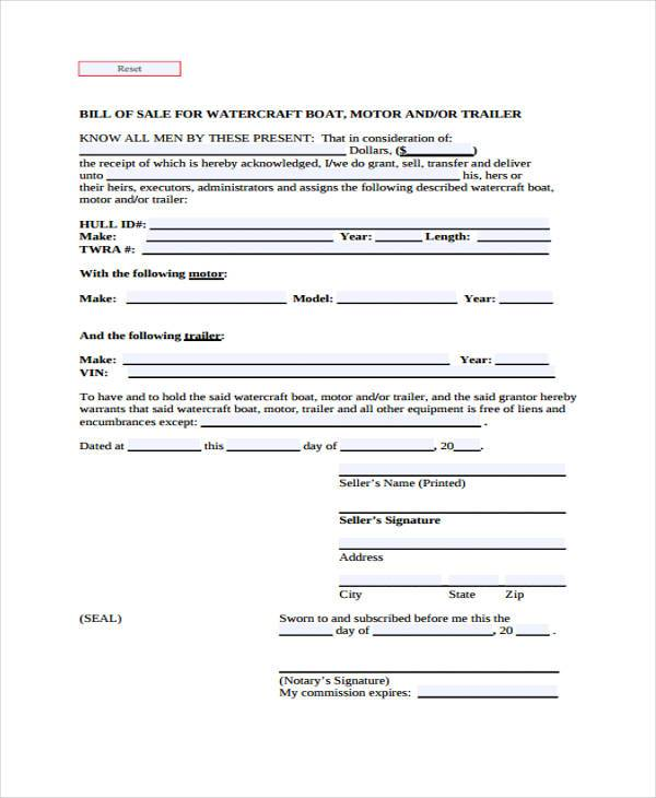 boat trailer bill of sale form