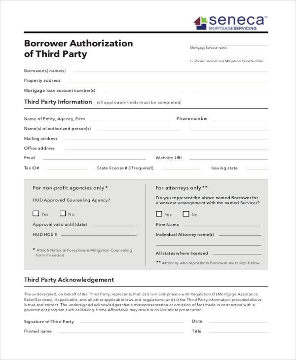 borrower authorization of 3rd party