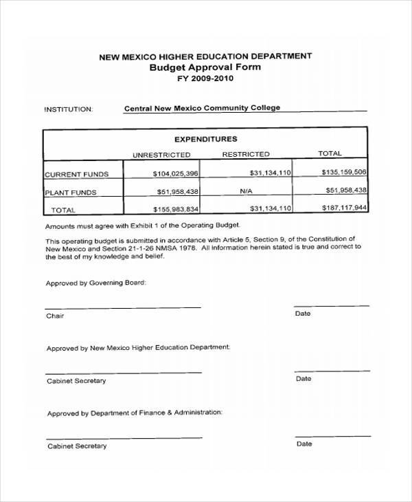 budget approval worksheet form