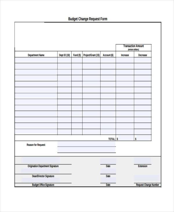 budget change request form