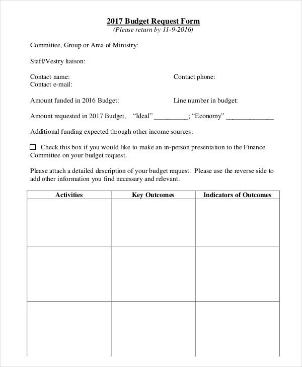 budget request form example