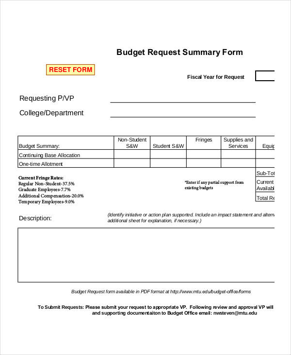 budget request summary form
