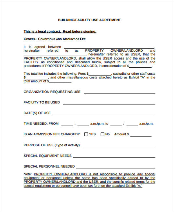 building facility rental agreement form