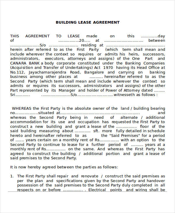 building lease agreement form example