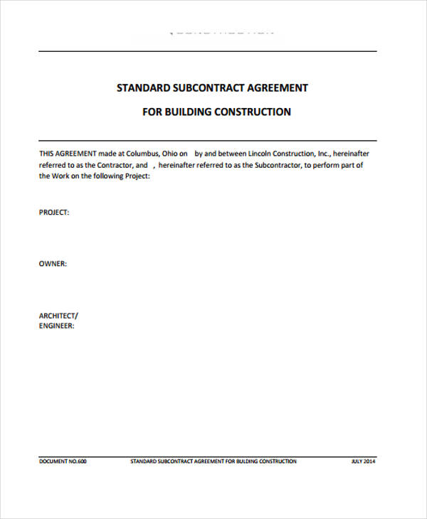building sub contractor contract agreement form