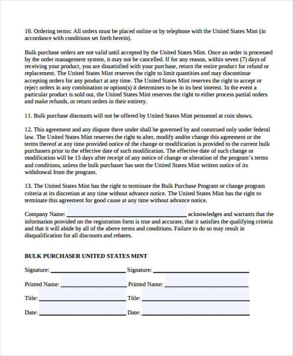 bulk purchase agreement form in pdf