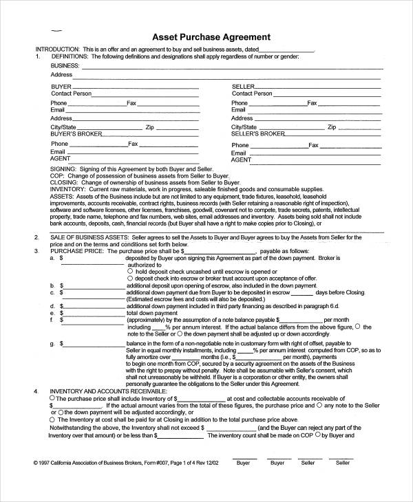 22 Free Purchase Agreement Form