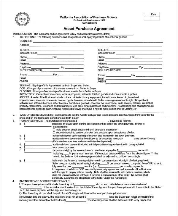 Asset Purchase Agreement Form Sample  Free Sample Example