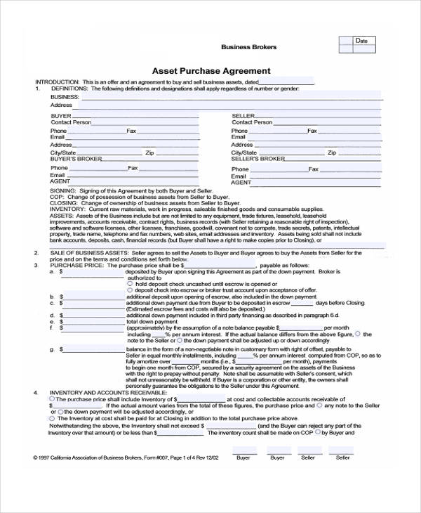business asset purchase agreement form3